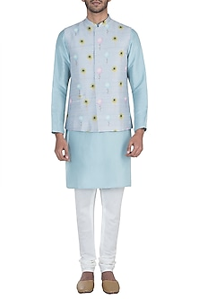 Grey printed bandi jacket with kurta and churidar pants by Payal Singhal Men