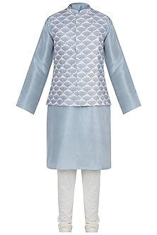 Lavender printed bandi jacket with kurta and churidar pants by Payal Singhal Men
