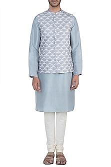 Lavender printed bandi jacket with kurta and churidar pants by Payal Singhal Men