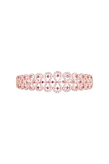 18kt Rose gold diamond and ruby openable bangle by Qira Fine Jewellery