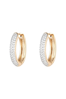 18kt Yellow gold diamond pave hoop earrings by Qira Fine Jewellery