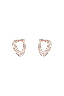 18kt Rose gold triangular diamond pave hoop earrings by Qira Fine Jewellery