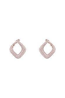 18kt Rose gold diamond pave hoop earrings by Qira Fine Jewellery