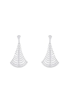 18kt White gold diamond gush earrings by Qira Fine Jewellery
