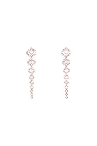 18kt Rose gold diamond drop earrings by Qira Fine Jewellery
