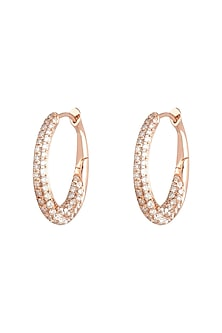 18kt Rose gold circular diamond pave hoop earrings by Qira Fine Jewellery