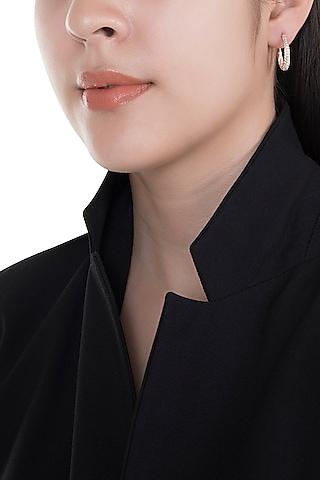 18kt Rose gold circular diamond pave hoop earrings by Qira Fine Jewellery