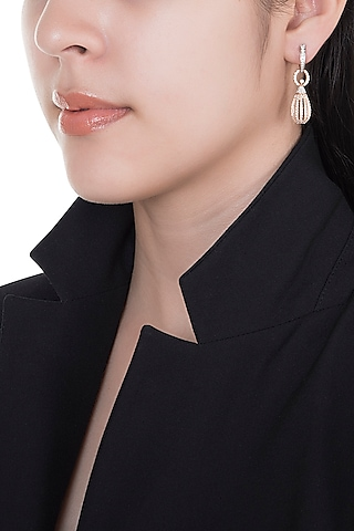 18kt Rose gold two tone diamond earrings by Qira Fine Jewellery