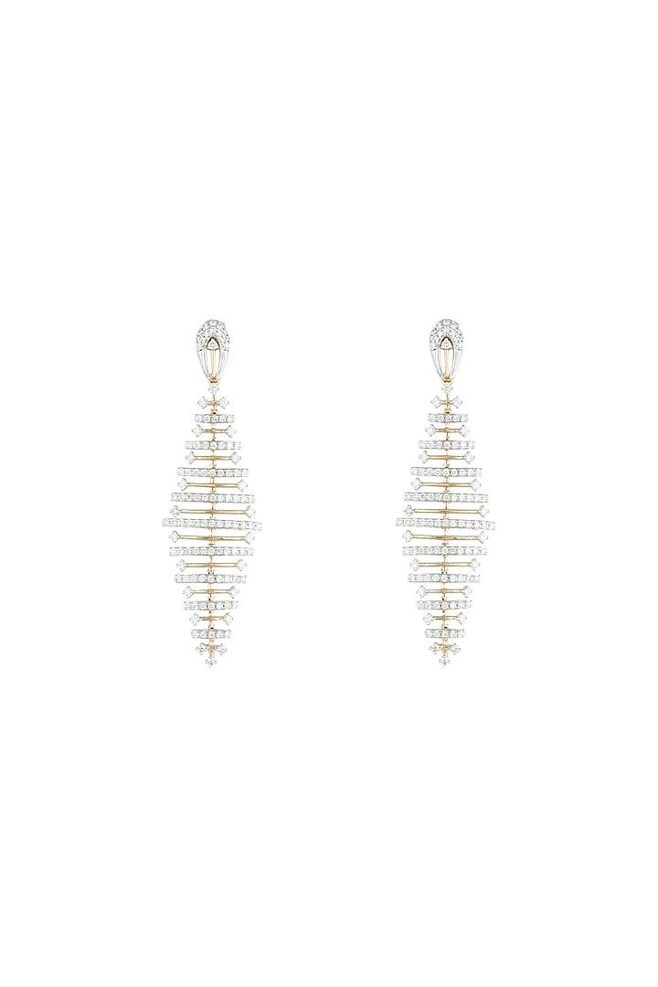 18kt Yellow gold diamond balance two tone earrings by Qira Fine Jewellery