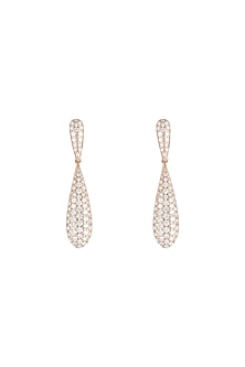18kt Rose gold diamond pave drop earrings by Qira Fine Jewellery