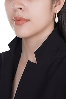 18kt Rose gold diamond pave drop earrings by Qira Fine Jewellery