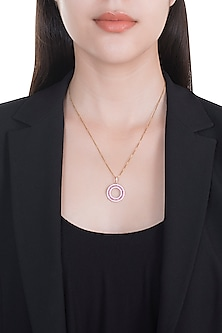 18kt Rose gold circle of life diamond and ruby pendant by Qira Fine Jewellery