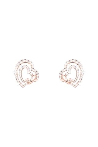 18kt Rose gold diamond heart stud earrings by Qira Fine Jewellery