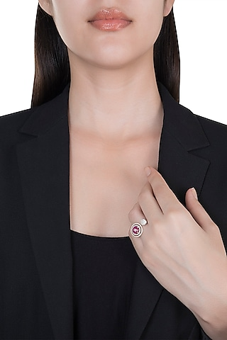 18kt Rose gold circle of life diamond and ruby ring by Qira Fine Jewellery