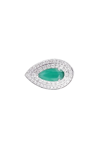 18kt White gold pear emerald and diamond ring by Qira Fine Jewellery
