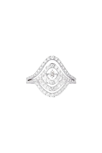 18kt White gold diamond rhythm ring by Qira Fine Jewellery