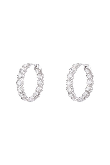 18kt White gold rose cut diamond hoop earrings by Qira Fine Jewellery