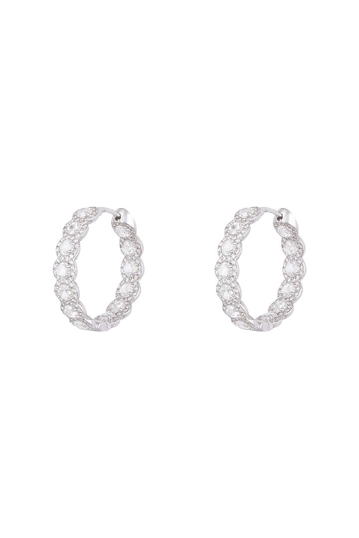 18kt White gold rose cut diamond hoop earrings by Qira Fine Jewellery