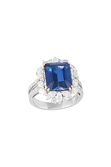 18kt White gold diamond sapphire heirloom ring by Qira Fine Jewellery