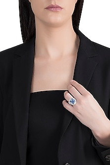 18kt White gold diamond sapphire heirloom ring by Qira Fine Jewellery