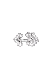 18kt White gold flexible petal flower diamond ring by Qira Fine Jewellery