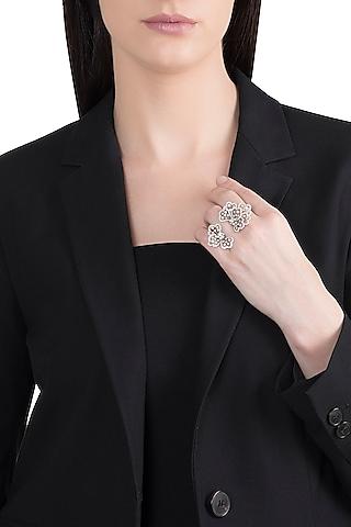 18kt White gold flexible petal flower diamond ring by Qira Fine Jewellery