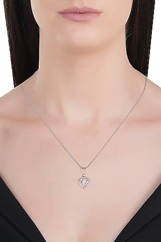 18kt Yellow gold halo heart diamond peandant by Qira Fine Jewellery