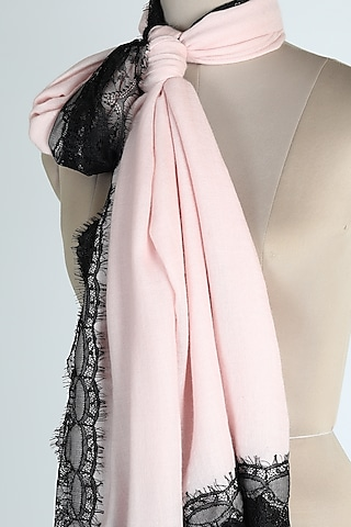Baby Pink Merino Wool Shawl by Queenmark