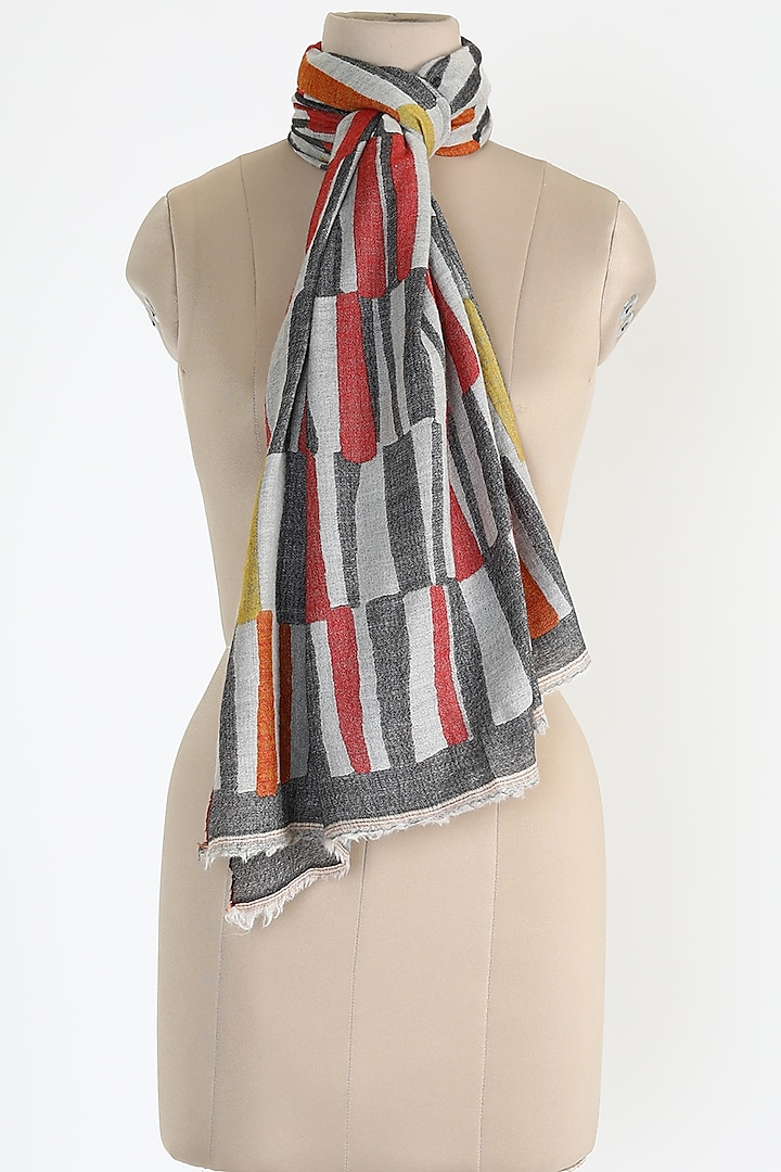 Coral Silk Cashmere Shawl by Queenmark