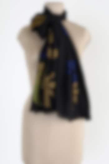 Black Silk Cashmere Shawl by Queenmark