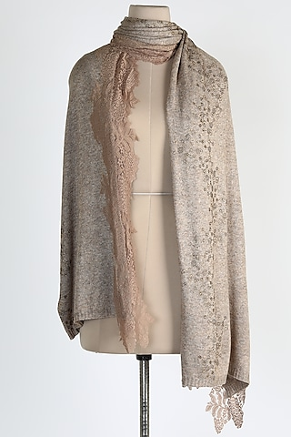 Dark Brown Shawl With Crystals by Queenmark