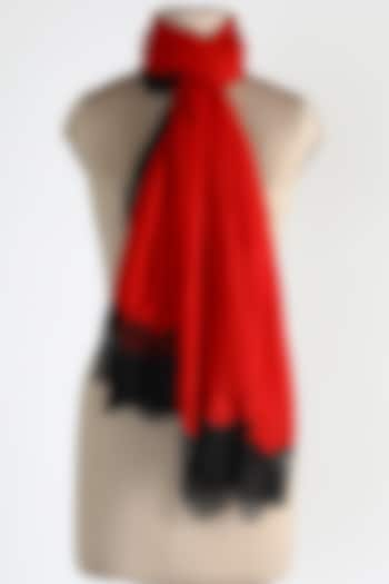 Red Merino Wool Shawl by Queenmark