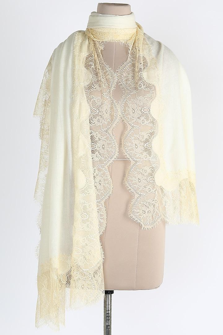 Ivory Merino Wool Shawl by Queenmark