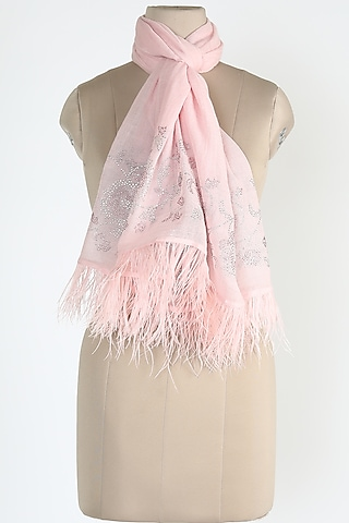Pink Shawl With Ostrich Feathers by Queenmark