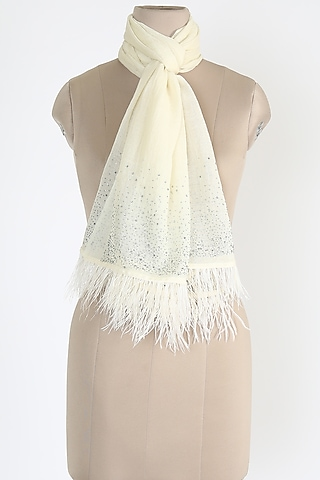 Ivory Shawl With Ostrich Feathers by Queenmark