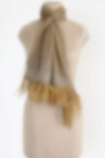 Natural Brown Shawl With Ostrich Feathers by Queenmark