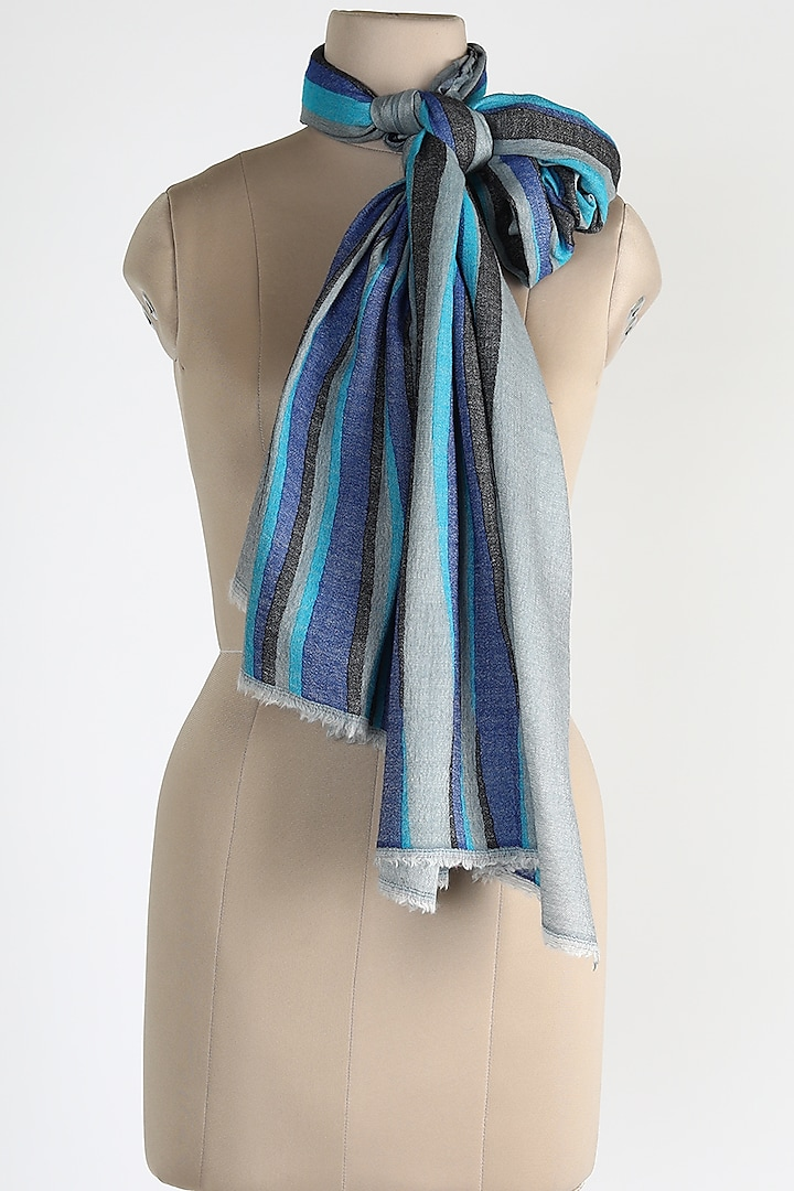Blue Shawl In Silk Cashmere by Queenmark