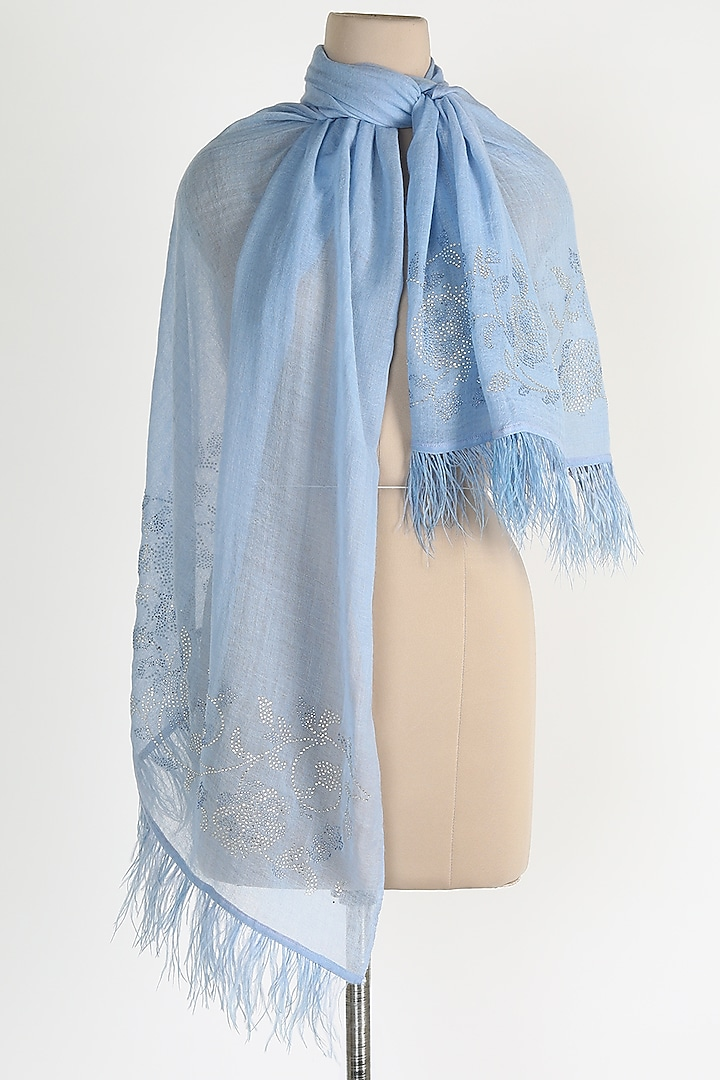 Blue Shawl With Ostrich Feathers by Queenmark
