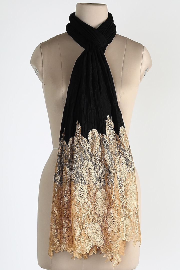 Black Pleated Shawl by Queenmark