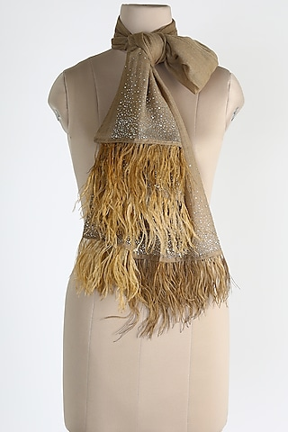 Natural Brown Ostrich Feathers Shawl by Queenmark