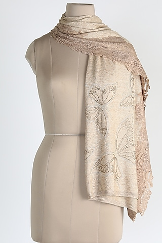 Light Brown Shawl With Crystals by Queenmark