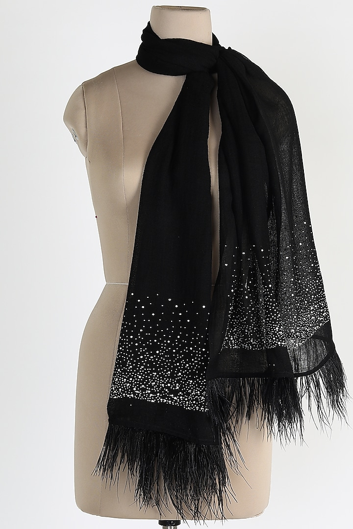 Black Shawl With Ostrich Feathers by Queenmark