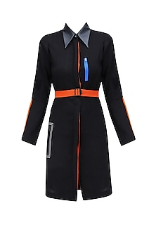 Black Leatherite Collar and Pocket Shirt Dress by QUO
