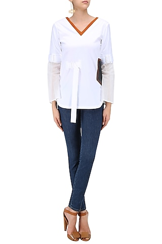 White Overlap Satin Shirt by QUO