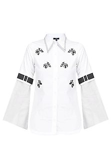 White Sequins Embroidered Satin Shirt by QUO