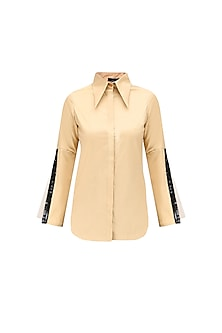 Beige Double Layered Sleeves Shirt by QUO