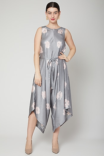 Grey Asymmetric Jumpsuit Dress by Rachana Ved