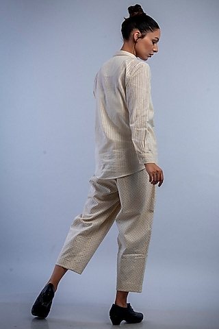 Off White & Charcoal Self Striped Shirt by Raffughar