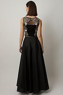 Black Polyester Taffeta Maxi Skirt by Raishma