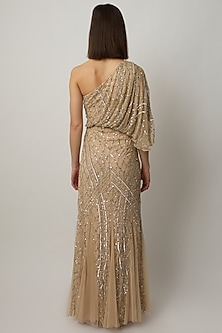 Gold Sequins Embroidered Gown by Raishma